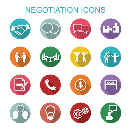 Illustration for Negotiation icons, flat vector symbols - Royalty Free Image