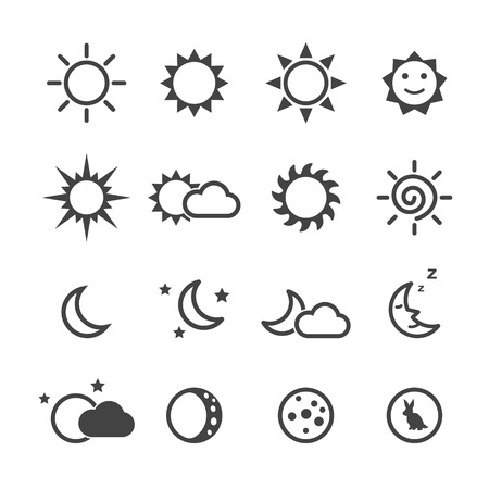 Illustration for sun and moon icons, mono vector symbols - Royalty Free Image