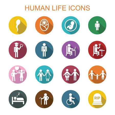 Illustration pour human life long shadow icons, flat vector symbols - image libre de droit