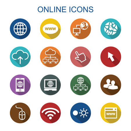 Illustration pour online long shadow icons, flat vector symbols - image libre de droit