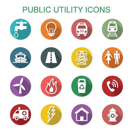 Illustration pour public utility long shadow icons, flat vector symbols - image libre de droit