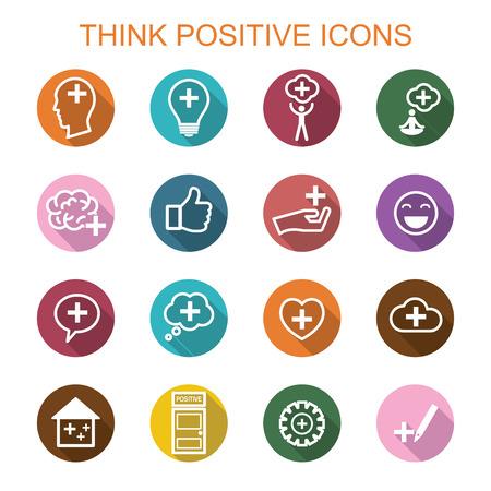 Illustrazione per think positive long shadow icons, flat vector symbols - Immagini Royalty Free
