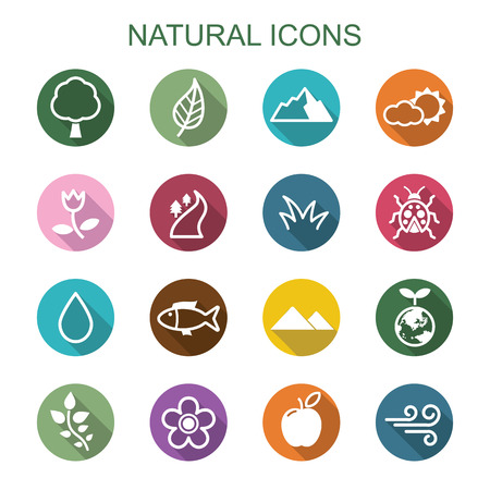 Illustration for natural long shadow icons, flat vector symbols - Royalty Free Image