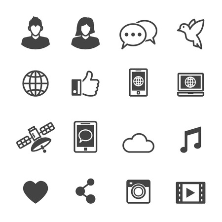 Illustrazione per social media icons, mono vector symbols - Immagini Royalty Free