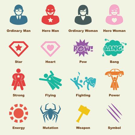 Ilustración de superhero elements, vector infographic icons - Imagen libre de derechos
