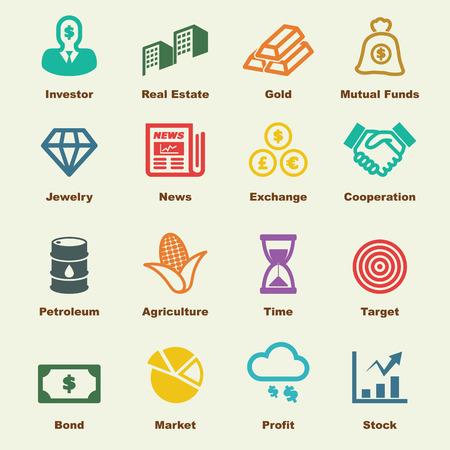 Ilustración de investment elements, vector infographic icons - Imagen libre de derechos