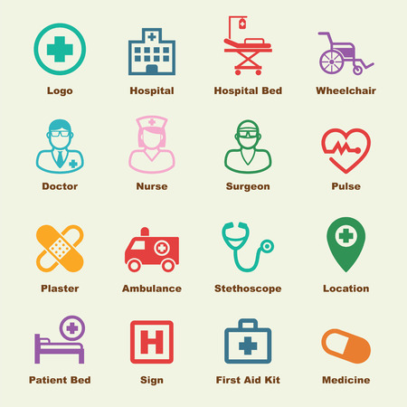 Illustration pour hospital elements, vector infographic icons - image libre de droit