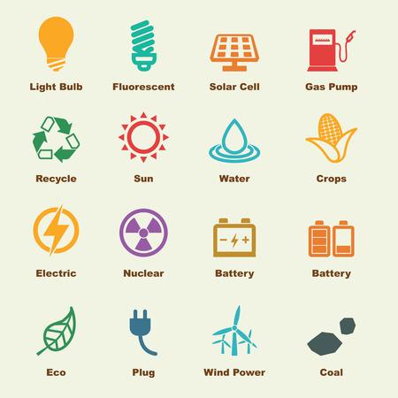 Ilustración de energy elements, vector infographic icons - Imagen libre de derechos