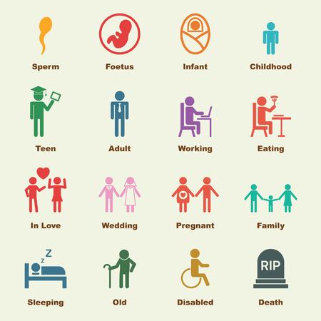 Ilustración de human life elements, vector infographic icons - Imagen libre de derechos