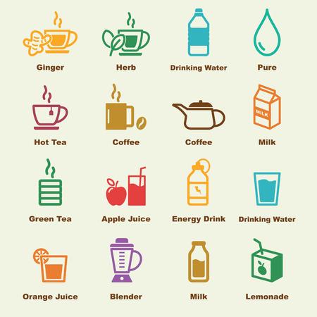 Ilustración de healthy drink elements, vector infographic icons - Imagen libre de derechos