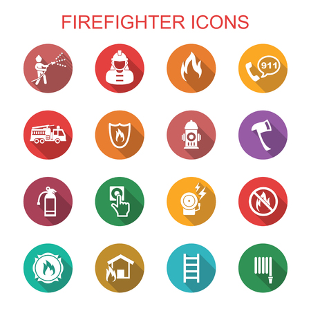 Illustration for firefighter long shadow icons, flat vector symbols - Royalty Free Image
