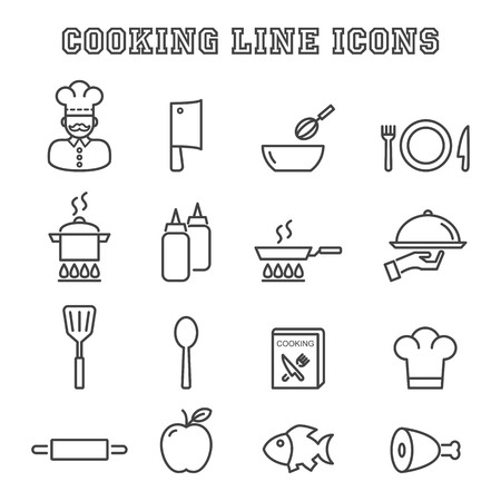 cooking line icons, mono vector symbols