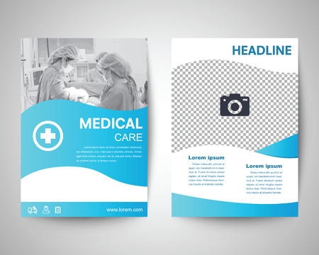 Illustration pour blue medical flyer template, brochure background, leaflet with cover, vector design in a4 size for business - image libre de droit