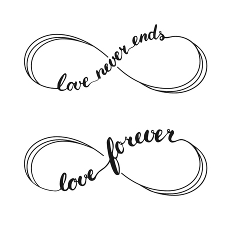 Illustration pour Infinity love symbol tattoo with infinity sign. Hand written calligraphy lettering text Love Forever and Love Never Ends for invitation and greeting card for Valentines Day. - image libre de droit