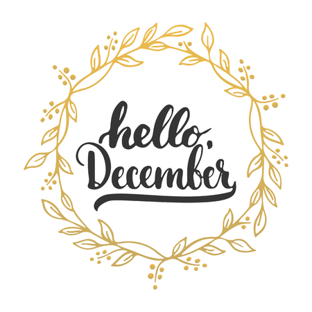Illustration for Hand drawn typography lettering phrase Hello, December isolated on the white background. Fun brush ink calligraphy inscription for winter greeting invitation card or print design - Royalty Free Image