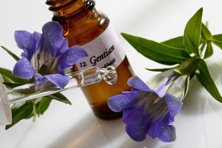 Foto de Gentian and pipette, apothecary flask - Imagen libre de derechos