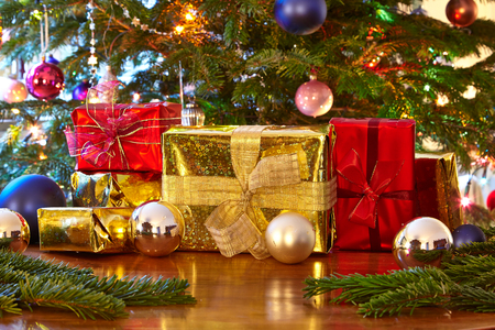Photo for Christmas presents, Christmas tree - Royalty Free Image