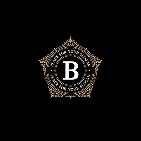 Illustration for Luxury graceful monogram emblem template with letter B.  Elegant frame ornament logo design for Royal sign, Restaurant, Boutique, Cafe, Hotel, Heraldic, Jewelry, Fashion - Royalty Free Image