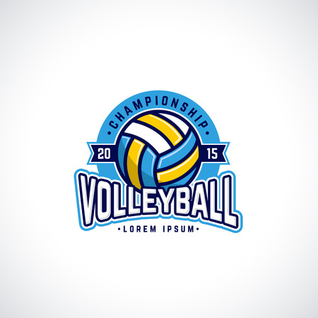 Vector volleyball championship logo with ball. Sport badge for tournament or championship.