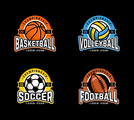 Sport set. Basketball, Volleyball, Soccer, Football.