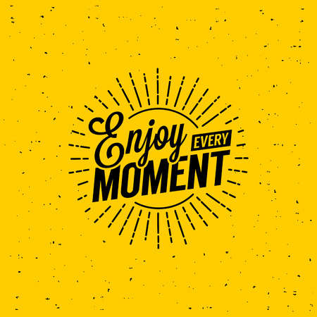 Ilustración de Beautiful lettering enjoy every moment. T-Shirt Print with starburst. - Imagen libre de derechos