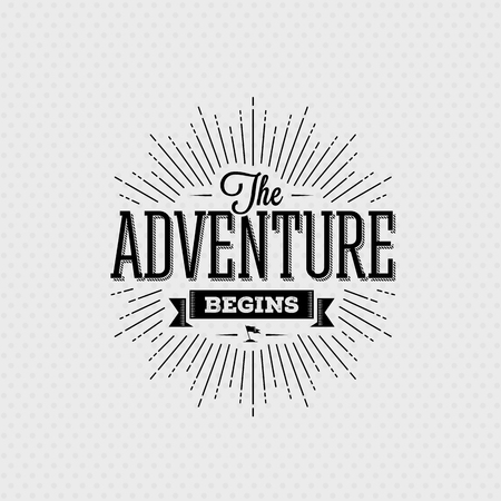 Illustration pour Vector card with typography design element for greeting cards and posters. The adventure begins in vintage style - image libre de droit