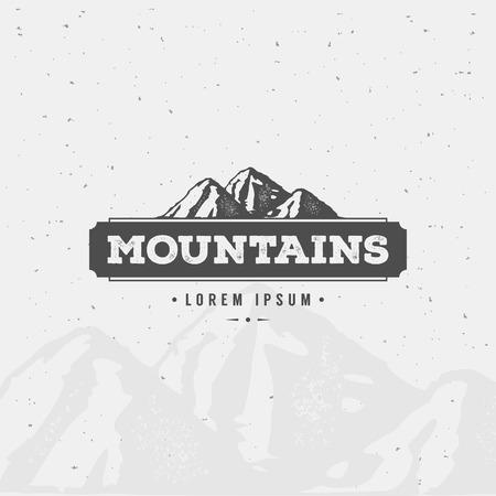 Illustration pour Mountain Design Element in Vintage Style for Logotype, Label, Badge and other design. Adventure retro vector illustration. - image libre de droit