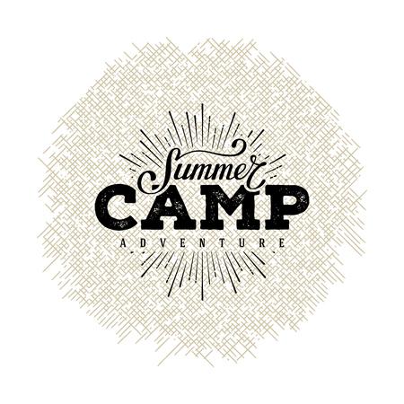 Illustration pour Summer camp label. Hand lettering typography design for sign, badge, t-shirt print,  postcard or poster. Vector illustration. - image libre de droit