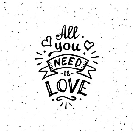 Illustration pour Vintage 'All you need is love' hand written lettering apparel t-shirt design. All You Need is Love inscription. - image libre de droit