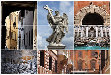 Collage showing the eternal city - Rome, Italy, Europe.