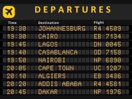 Illustration pour Departure board - destination airports. Busiest airports in Africa: Johannesburg, Cairo, Lagos, Cape Town, Nairobi, Casablanca, Algiers, Addis Ababa and Rabat. - image libre de droit