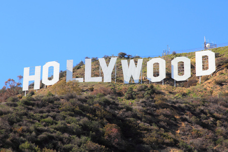 Photo for LOS ANGELES, USA - APRIL 5, 2014: Hollywood Sign in Los Angeles. The sign was originally created in 1923 and is a Los Angeles Historic-Cultural Monument. - Royalty Free Image