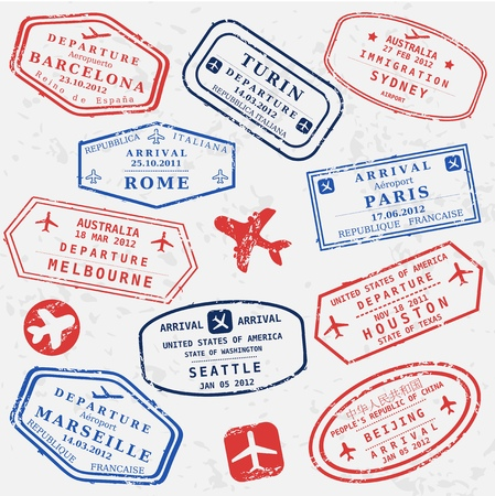 Illustration for Travel stamps background. Fictitious international airport symbols. - Royalty Free Image