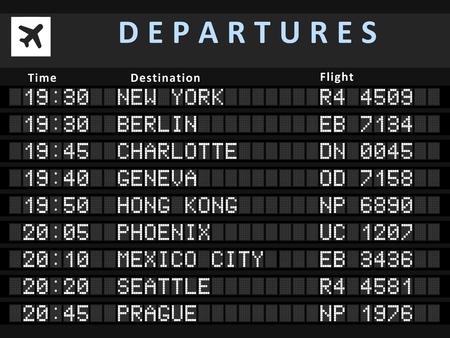 Illustration pour Airport departure board with following destinations: New York, Berlin, Charlotte, Geneva, Hong Kong, Phoenix, Mexico City, Seattle and Prague. - image libre de droit