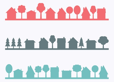 Illustration pour Small town vector silhouettes with blank copy space. Village illustration. - image libre de droit