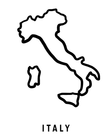 Illustration pour Italy map outline - smooth country shape map vector. - image libre de droit