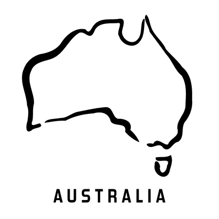 Illustration for Australia simple map outline - smooth simplified continent shape map vector. - Royalty Free Image