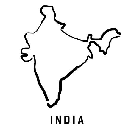 Ilustración de India simple map outline - smooth simplified country shape map vector. - Imagen libre de derechos