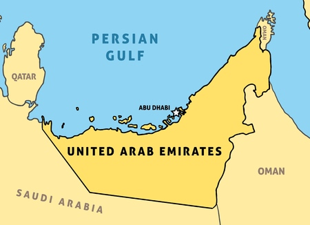 Illustration pour United Arab Emirates (UAE) map. Outline vector country map. - image libre de droit