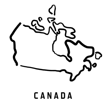 Ilustración de Canada map outline - smooth simplified country shape map vector. - Imagen libre de derechos