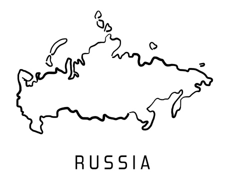 Ilustración de Russia map outline - smooth simplified country shape map vector. - Imagen libre de derechos