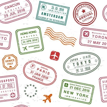 Ilustración de Travel background - passport stamps collage. Fictitious stamps set. - Imagen libre de derechos