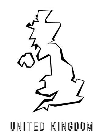 Ilustración de UK map outline - country shape sharp polygonal geometric style vector. - Imagen libre de derechos