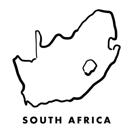 Ilustración de South Africa simple map outline - smooth simplified country shape map vector. - Imagen libre de derechos