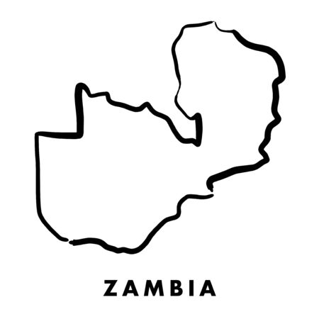 Ilustración de Zambia simple map outline - smooth simplified country shape map vector. - Imagen libre de derechos