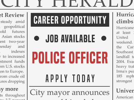 Illustration pour Police force career - job hiring classified ad vector in fake newspaper. - image libre de droit