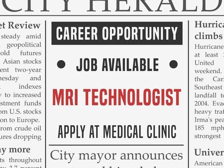Illustration pour MRI technologist medical career, job hiring classified ad vector in fake newspaper. - image libre de droit