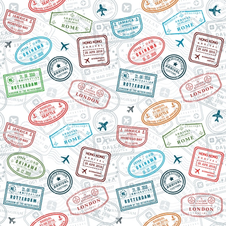 Illustration for Passport stamps vector seamless pattern - travel stamp theme (fictitious stamps). - Royalty Free Image