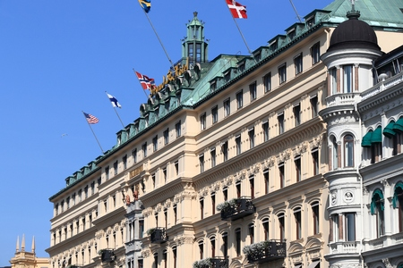 Photo pour STOCKHOLM, SWEDEN - AUGUST 24, 2018: Grand Hotel in Stockholm, Sweden. It is a member of prestigious The Leading Hotels of the World (LHW) consortium. - image libre de droit