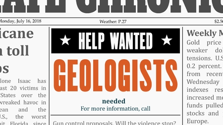 Illustration pour Geologists job offer. Newspaper classified ad in fake generic newspaper. - image libre de droit